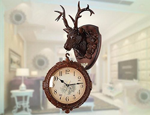 SUNQIAN-Retro double living room wall clock, clock, creative personality deer decorative wall hanging pendant, large mute,A by SUNQIAN