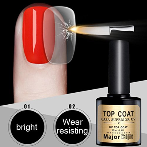 Vovomay Steel Top Coat,Long-lasting Soak-off LED UV Gel Colo