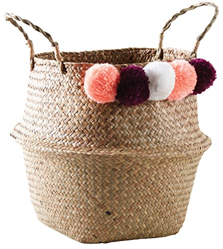 Natural Round Basket V015004 Natural Adulte with Pom Seagrass Poms Round WZAwxnq5