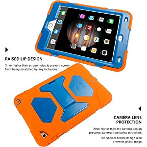 iPad Mini 4 Case ,Aceguarder New Design iPad Mini 4 Case Rainproof Dirtproof Shockproof Cover Case With Stand Super Protection for iPad Mini 4 (Orange-blue)