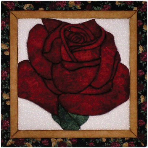 Quilt Magic 12-Inch by 12-Inch Lone Rose - Rose Pattern Quilt