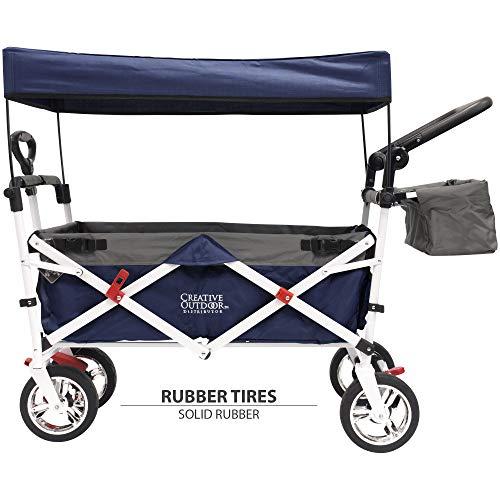 Creative Outdoor Distributor Push Pull Wagon for Kids, Foldable with Sun/Rain Shade (Navy - Terrain Cart All Playground