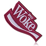 [1 Count Single] Custom and Unique (3.5'' x 4'' Inch) Funny Comedy Spoofed Soda Pop Company Emblem Stay Woke Brand Social Satirical Joke Sign Design Iron On Embroidered Applique Patch {Red & White}