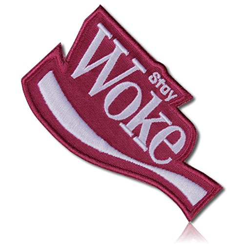 [1 Count Single] Custom and Unique (3.5'' x 4'' Inch) Funny Comedy Spoofed Soda Pop Company Emblem Stay Woke Brand Social Satirical Joke Sign Design Iron On Embroidered Applique Patch {Red & White} by mySimple Products