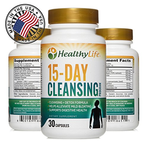 Colon Cleanse Detox Formula by HealthyLife | Helps Lose Weight | AIDS Weight Loss | 30 Capsules 15 Day Cleansing Program by HealthyLife Supplement Store