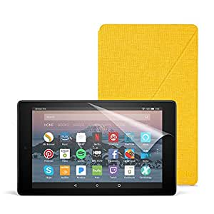 Fire HD 8 Essentials Bundle with Fire HD 8 Tablet (32 GB, Black), Amazon Cover (Canary Yellow) and Screen Protector (Clear)