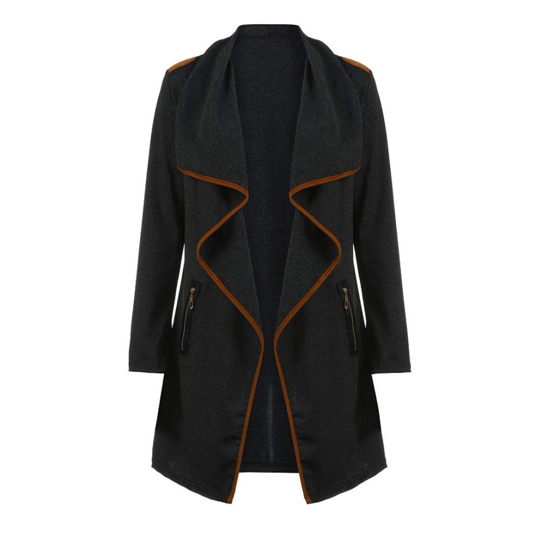 UONQD Women Outwear Coat Knitted Casual Long Sleeve Tops Cardigan Jacket (X-Large,Black)