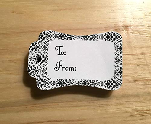 20 Black Damask To and From Printed Gift Tags, Favor Tags