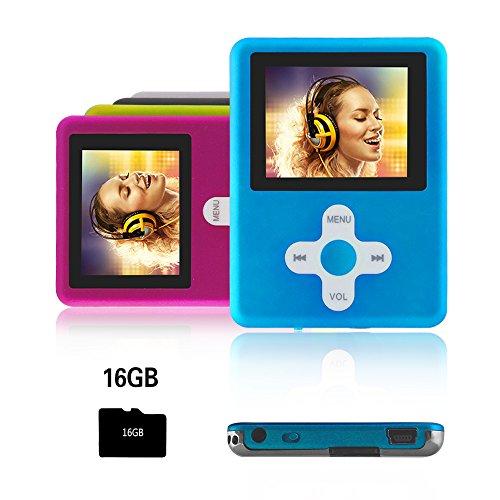 Btopllc MP3-Player,MP4 Player 16GB Karte,MP3 tragbarer Musik-Player,Video Player USB,MP3/MP4 Digitaler Musik Player Klassisch wiederaufladbar/Media Player/Video/Audio Player/Multimedia Player - blau