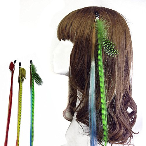 Price comparison product image 6 Pcs Boho Handmade Hippie Hair Extensions Wig Headwear Hair Clip with Colourful - DIY Hairpin Headdress Accessories for Women Lady Girls