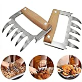 NILICAN Barbecue Claw BBQ Meat Cleaver Kitchen Steak Chicken Lamb Pork Processing Beef Wooden Handle Sharp Blade Stainless Steel, Two Pieces