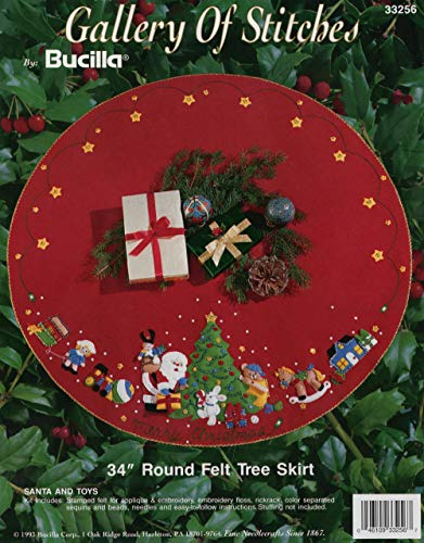 (Bucilla 1993 Santa & Toys Jeweled Felt Applique Christmas Tree Skirt )