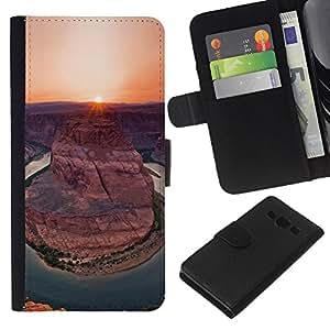 KLONGSHOP // Tirón de la caja Cartera de cuero con ranuras para tarjetas - Cañón Puesta de sol salida del sol Sun Desert - Samsung Galaxy A3 //