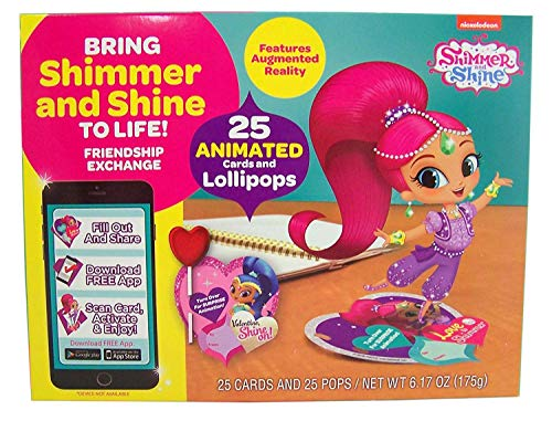 Shimmer and Shine Animated Valentines Cards and Lollipops Classroom Exchange, 25 Count