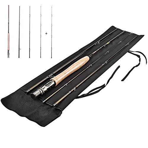 PLUSINNO Lightweight Ultra Portable Fly Fishing Rod and Reel Graphite Pole with (6 Piece Fly Rod)