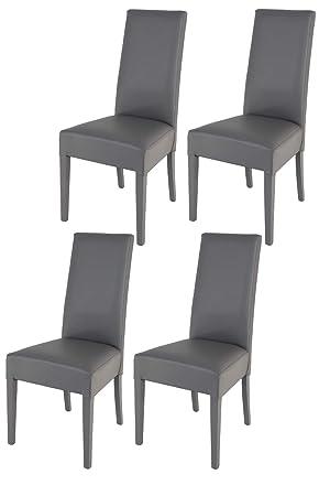 Tommychairs - 4er Set Moderne Stühle Luisa für Küche und Esszimmer,  Struktur aus lackiertem Buchenholz Farbe Dunkelgrau, gepolstert und mit ...
