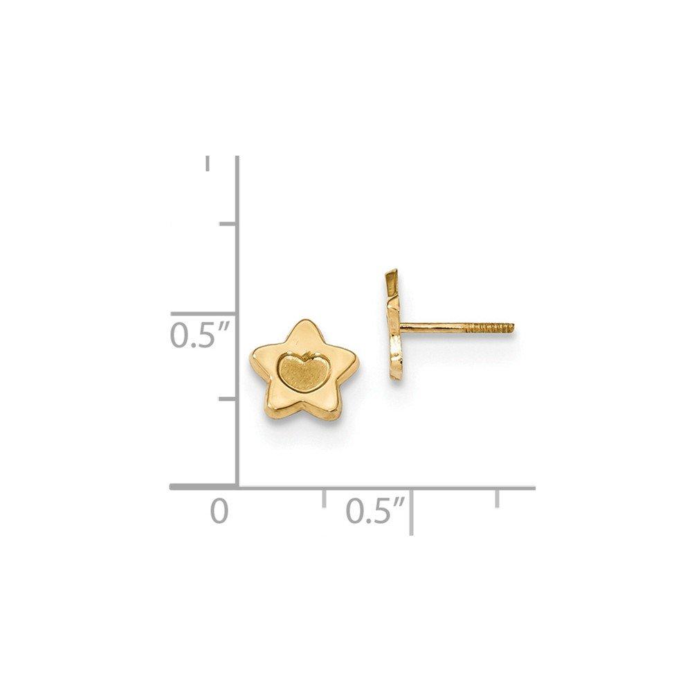 14K Yellow Gold Madi K Childrens 7.5 MM Heart Star Post Stud Earrings