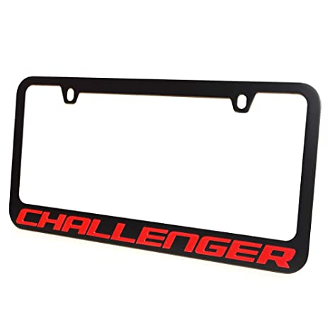Amazon.com: Dodge Challenger License Plate Frame - Black with Red ...