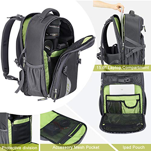 Endurax Video Camera Backpack Fit 2 DSLR/SLR Camera, 3-5 Lenses, 15.6 inch Laptop for Outdoor Travel (Grey)