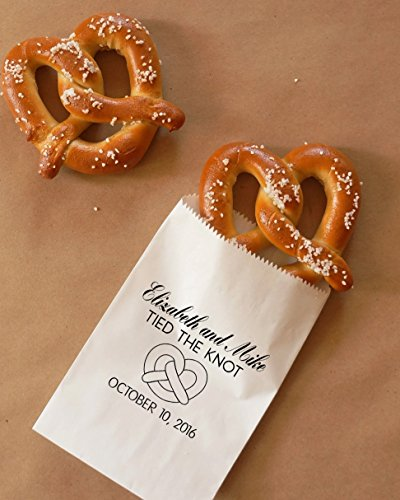 Tied The Knot Pretzel Bags, Hot Pretzel Sacks, Wedding Snack Bags, Bakery Bags, Wedding Favor - Personalized - Coated, Grease Resistant - Set of 25 ()