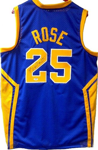 Chicago Bulls Derrick Rose Signed Autographed Blue Simeon High ... 29b6730c7