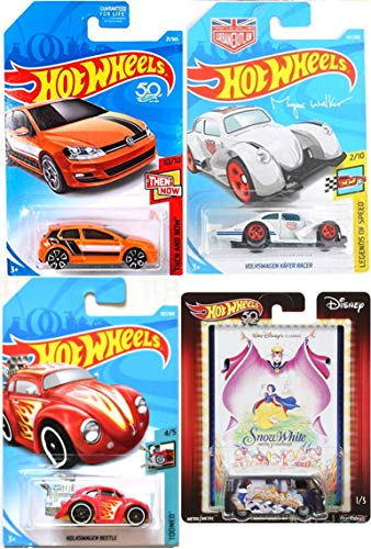Beetle Gold Racer Hot Wheels Magnus Walker Kafer Racer 50th Anniversary and Snow White Pop Culture Disney T1 Panel Bus 4-Car Bundle