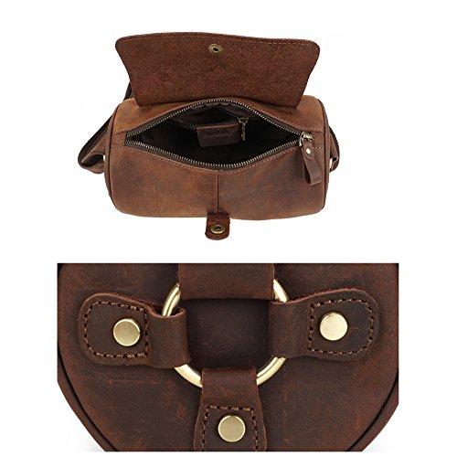 Leather Yxlong Messenger Men's Shoulder Bag Tide Horse Retro Crazy Darkbrown wYSwr7