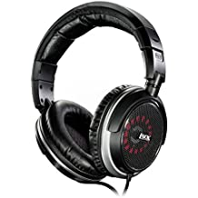 LyxPro OEH-10 Open Back Headphones Hi Fi Audiophile Over-Ear Comfortable Headphones, Interchangeable Cushioned foam/fabric Leather Ear Pads,Black
