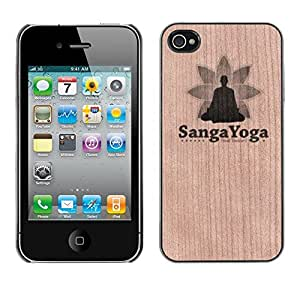 - / Sanga Yoga Meditation Exercise - - Funda Delgada Cubierta Case Cover de Madera / FOR Apple iPhone 4 4S 4G / Jordan Colourful Shop/