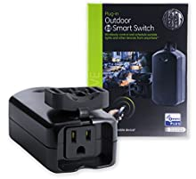 GE 14284 Enbrighten Plus Smart Outdoor Switch, 1-Outlet Plug-In, Weather-Resistant, Works with Alexa, Google Assistant Z Wave Hub Required, Black