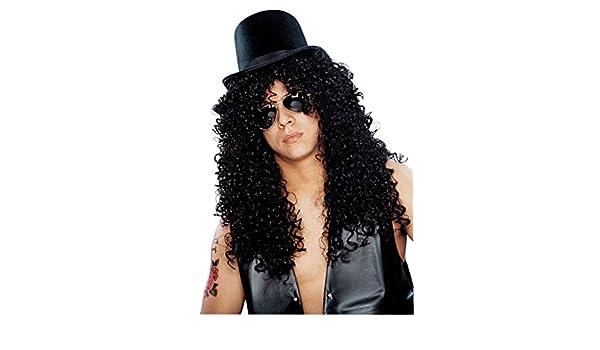 Franco Americana novedad 24635-01 Curly Rocker Deluxe Peluca - Negro: Amazon.es: Juguetes y juegos