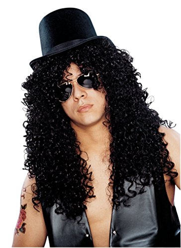 Costume Culture Men's Curly Rocker Wig Deluxe, Black, One (Easy 80's Costumes Men)