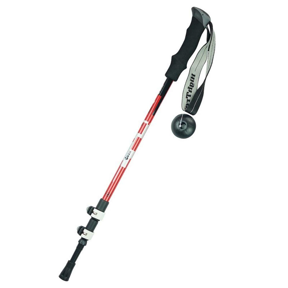 CCwenjing Outdoor Climbing Stick Cane Aluminum Alloy Lock Telescopic Simple Trekking Pole Lightweight Walking Stick (Color : Red, Size : 64-135cm) by CCwenjing
