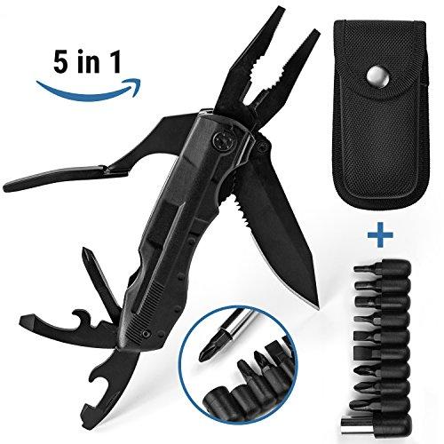Camping Guru Multifunction Folding Black Pocket Knife - 5 in 1 Stainless Steel Multitool including Pliers, Bottle Opener, Screwdriver, Sharp Blade & Storage Bag | Ultimate Outdoor Survival Tool
