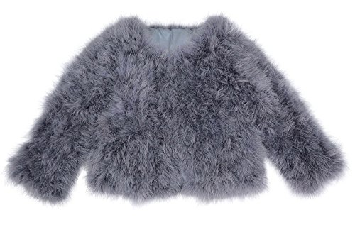 Jancoco Max Women Real Ostrich Fur Coat Genuine Feather Winter Jacket Overcoat Long Sleeves ()