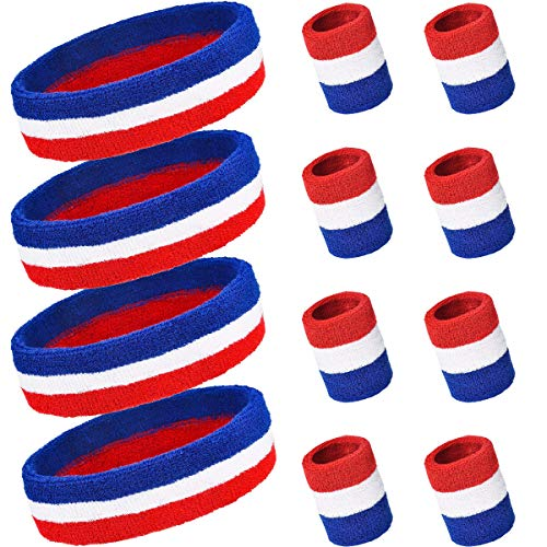 PAMASE 4 Sets Striped Sweatbands Set, Including 4 pcs Sports Headbands and 8 pcs Wristbands Cotton Sweat Band American Flag Style for Tennis Athletic Men ()