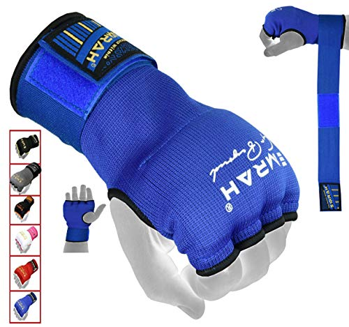 EMRAH PRO Training Boxing Inner Gloves Hand Wraps MMA Wraps Mitts - X (Blue, Medium)