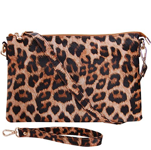 Humble Chic Vegan Leather Crossbody Tablet Purse - Convertible Travel iPad Wallet Pouch or Messenger Bag, Leopard, Brown, Black, Animal Print ()