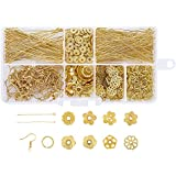 Pandahall 1 Box Golden Color Mixed Jewelry Findings Kits, 10g Iron Earring Hooks, Brass Ball Headpin, Iron Jump Rings, Brass Eyepins, Alloy Spacer Beads and 15g Alloy Bead Caps