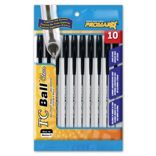 Kittrich Promarx TC Ball Clear Stick Pens, Medium Point, Black, 10 Count (BP30-KR1P10-01), Office Central