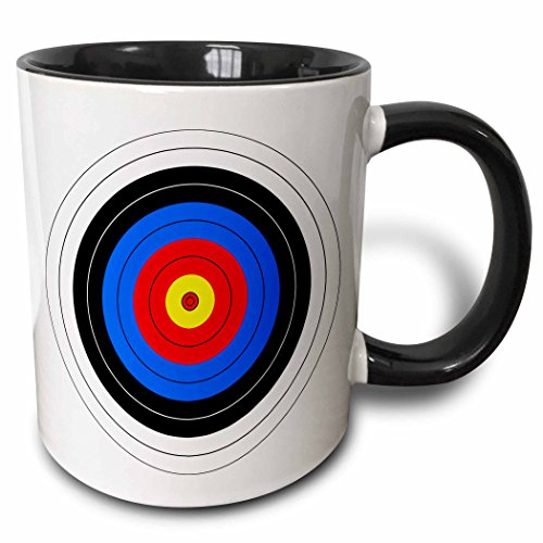 3dRose 157561_4 Target with red yellow black white and blue rings Mug, 11 oz,