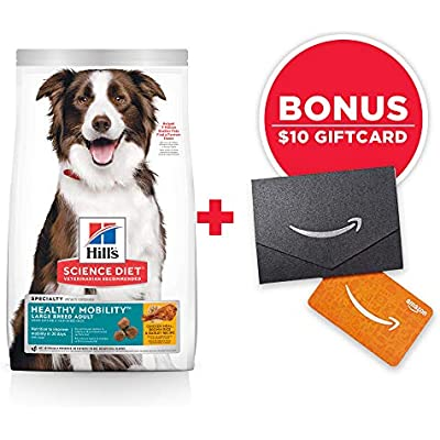 Hill's Science Diet Dry Dog Food, Adult, Large Breed, Healthy Mobility for Joint Health, Chicken Meal, Brown Rice & Barley Recipe, 30 lb Bag w/Amazon Gift Card