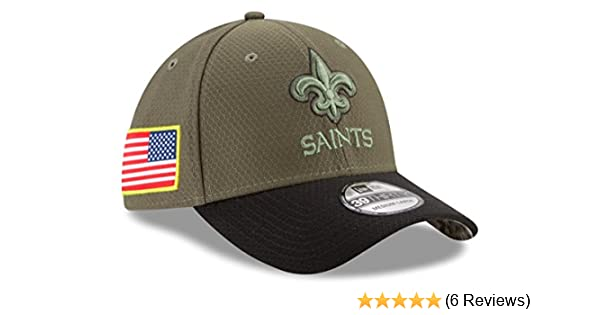 4fdf537585728 Amazon.com   New Era New Orleans Saints NFL 39THIRTY 2017 Sideline Salute  to Service Hat   Sports   Outdoors