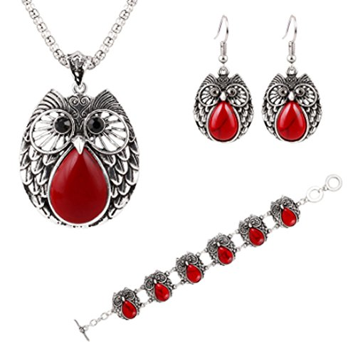 Chariot Trading - Owl Jewelry Sets Silver Plated Turquoise - Bbf Pedestal