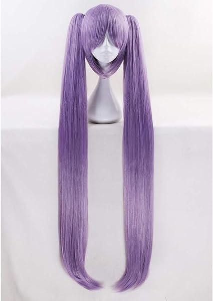 Peluca morada larga de 110 cm con dos clips en las colas de caballo Euryale Stheno Recta gruesa Anime Cosplay pelucas para fiesta de disfraces: Amazon.es: Belleza