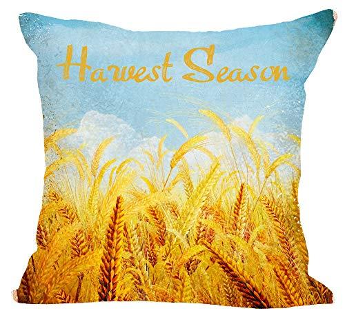 Retro Painting Fall Autumn Harvest Season Wheat Ears Wheat Field Blue Sky Cotton Linen Square Throw Waist Pillow Case Decorative Cushion Cover Pillowcase Sofa 18