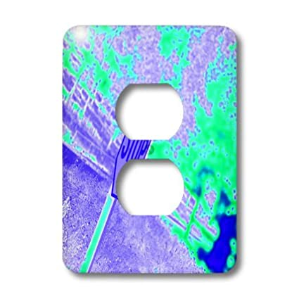 3dRose  lsp/_79943/_6 A Stop Sign In Neon Aqua and Purple On A Street Corner 2 Plug Outlet Cover