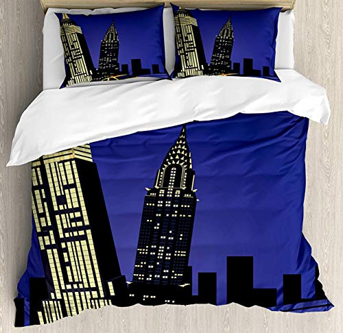 City Duvet Cover Set King Size, Skyscrapers and Taxi New York Theme American Downtown Scenic Skyline, Decorative 4 Piece Bedding Set with 2 Pillow Shams, Violet Blue Yellow Black