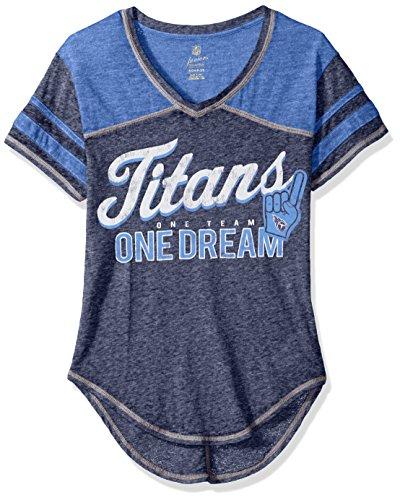 NFL by Outerstuff NFL Junior Girls Vintage Short Sleeve Football Tee, Tennessee Titans, Dark Navy, L(11-13)