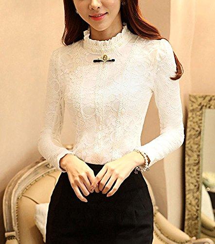 Blouse T Femme Manches Rtro Dentelle Crochet Top Minetome Perle Shirt Broderie Blanc De Soie EqPYAnddB